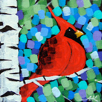 cardinal painting, paintings of spring cardinals, paintings of male and female cardinals, aaron kloss art painting, duluth art, minnesota landscape painting, pointillism