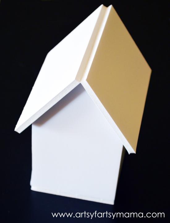 DIY Foam Board Birdhouse at artsyfartsymama.com #Elmers #kidscraft #birdhouse