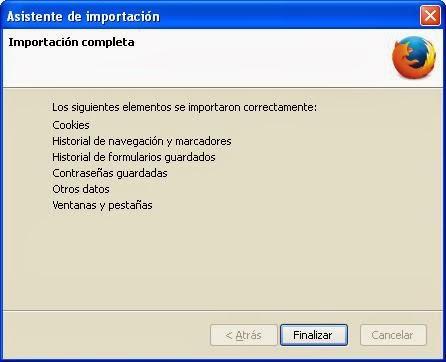 Finalizar Restablecer Firefox
