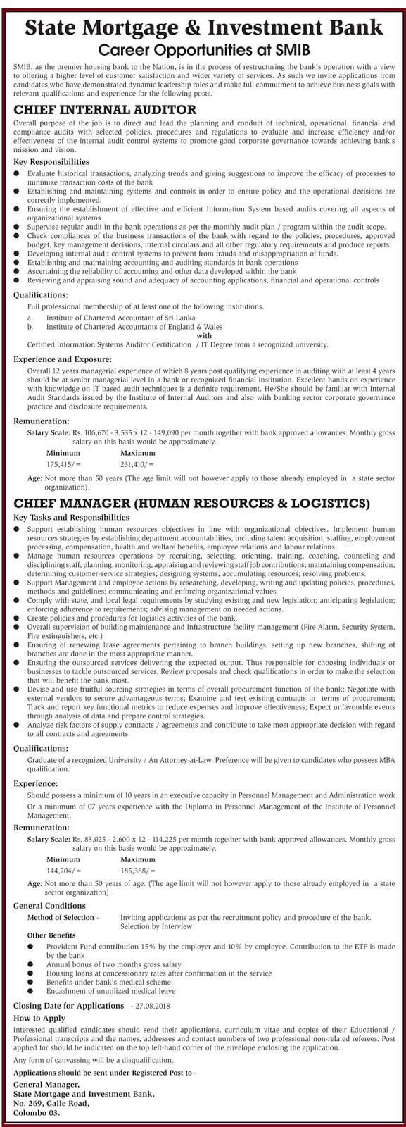 Chief Internal Auditor / Chief Manager (Human Resources & Logistics)