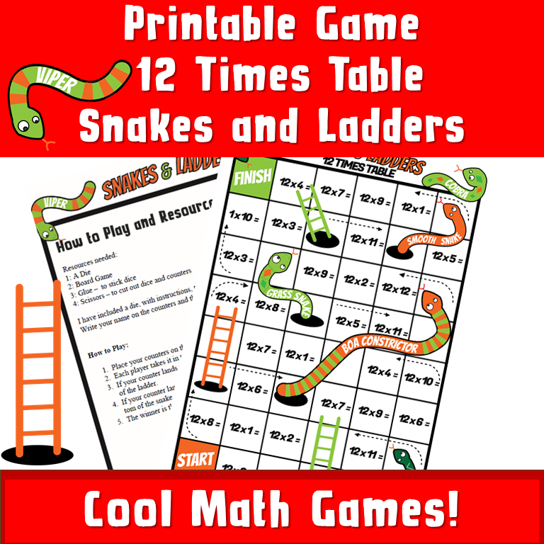 PRINTABLE snakes and ladders Multiplications 12 - Printable Games By ...