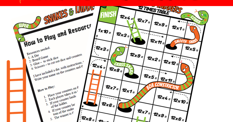 Printable Snakes And Ladders Multiplications 12