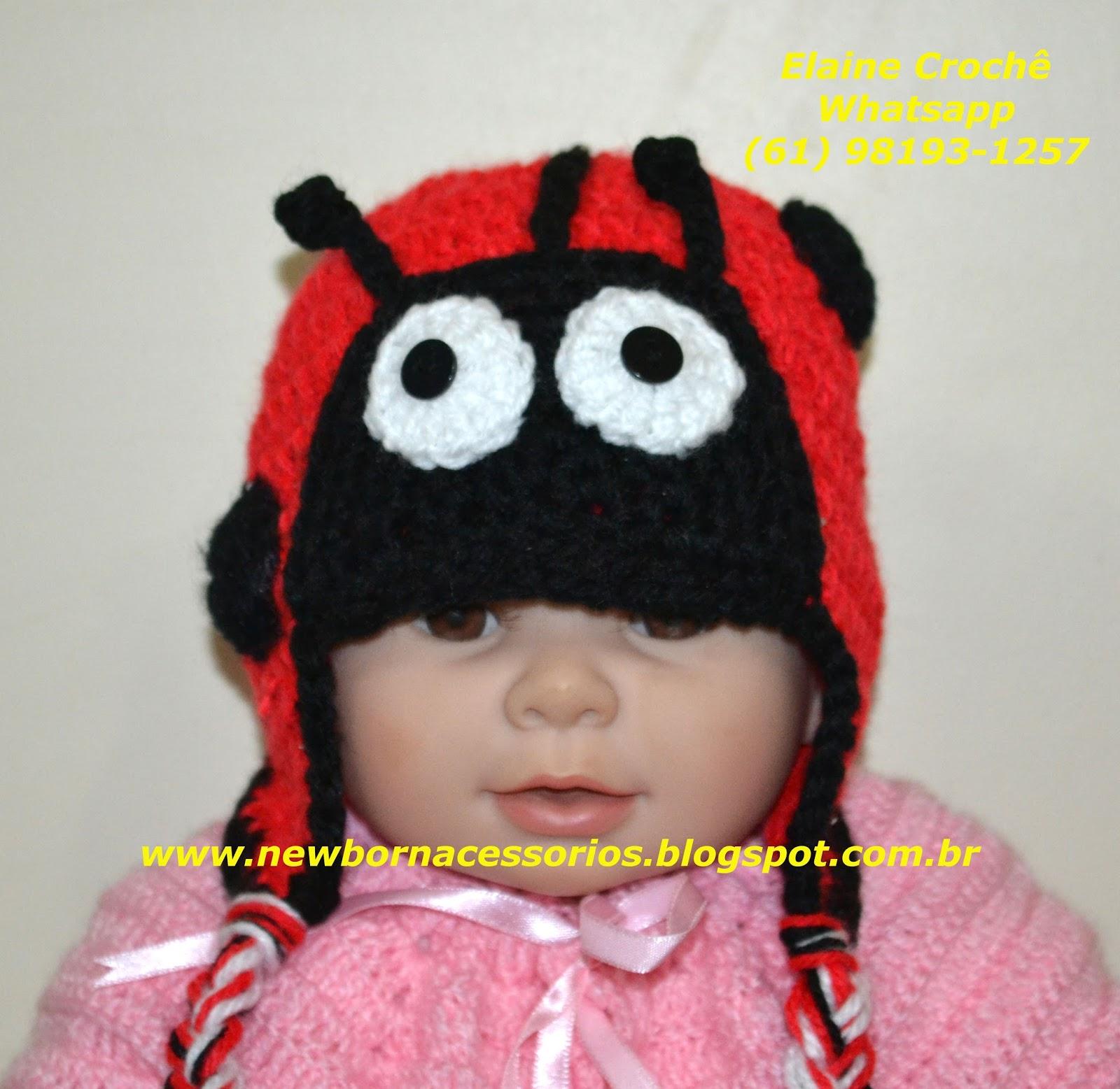 Newborn Acessórios  Newborn Gorro ou Touca Joaninha em Crochê 4eee510eb01