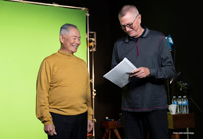 George Takei behind the scenes recording The Future is Here—How Sci-fi Becomes Reality for The Children's Museum