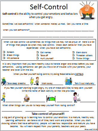 Printables Self Control Worksheets empowered by them self control control