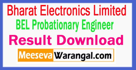 BEL Probationary Engineer Result Download