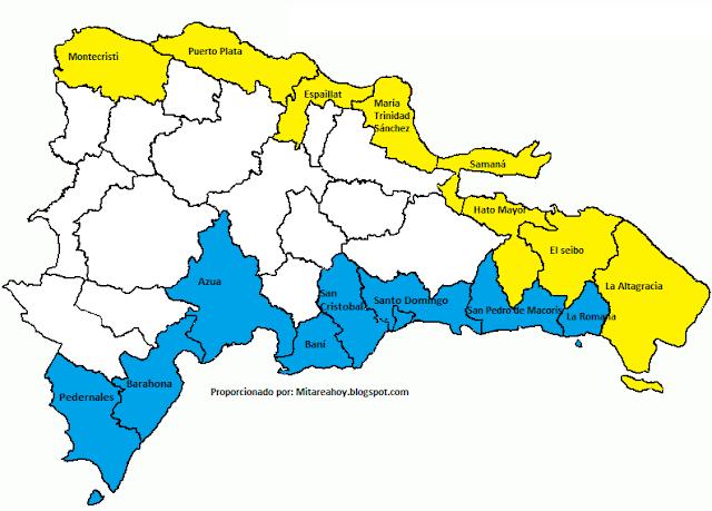 mapa provincias costeras dominicanas