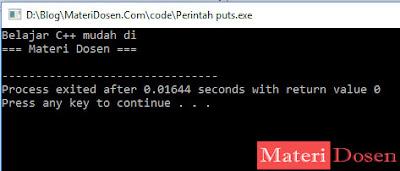 contoh program menggunakan fungsi puts()