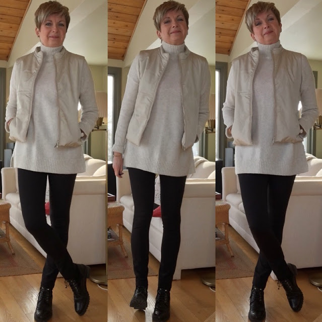 trichtype of woman in cream sweater and vest and black leggings and boots