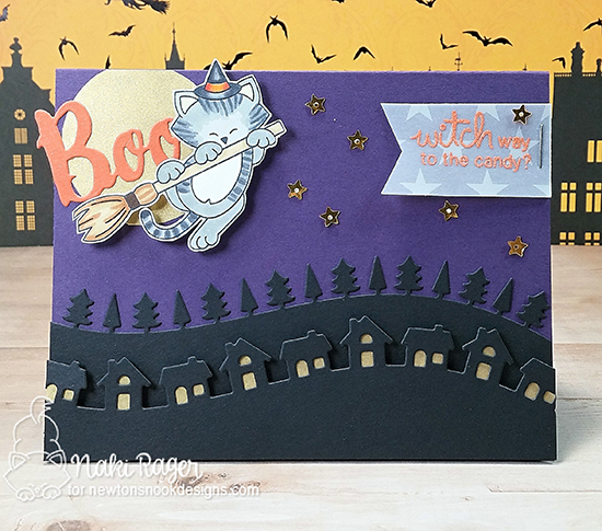 Halloween cat card by Naki Rager | Newton's Boo-tiful Night Stamp set by Newton's Nook Designs #newtonsnook #halloween