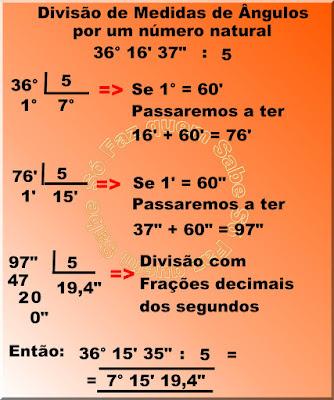 Ilustração mostrando como se divide uma medida de ângulo por um número natural.