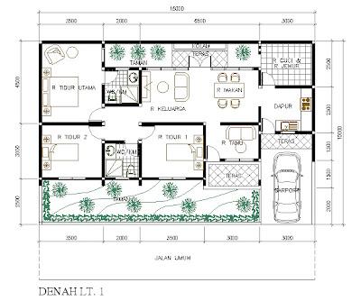 rumah minimalis 3 kamar tidur dengan 2 kamar mandi - modif