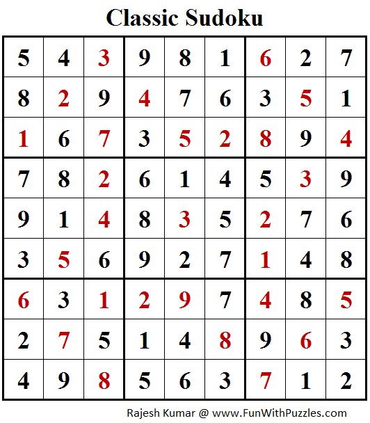 Classic Sudoku  (Fun With Sudoku #253) Puzzle Solution
