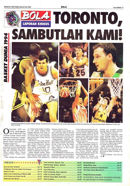 LAPORAN KHUSUS BASKET DUNIA 1994 TORONTO, SAMBUTLAH KAMI!