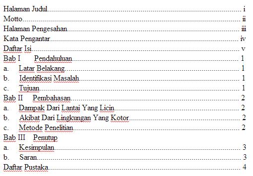 Contoh Daftar Isi Makalah Yang Benar Gudang Makalah