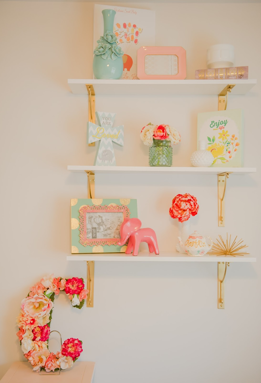 i got all of the shelf styling pieces from hobby lobby my baby shower or vintage stores
