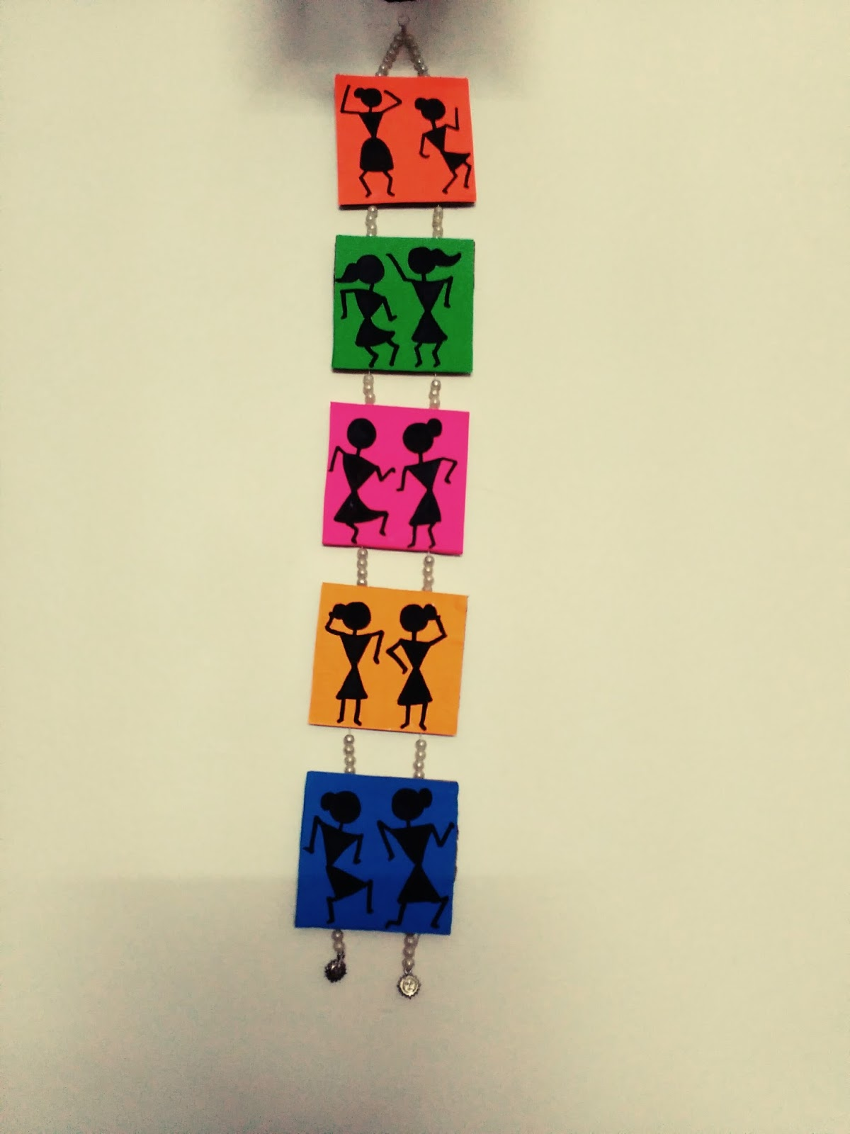 Warli Wall Hang Material Required Cardboard Origami Sheets Black Marker Paint Strong Thread Beads Glue Basic Stationery