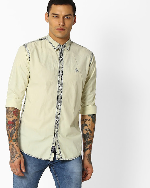 Slim Fit Shirt with Contrast Placket