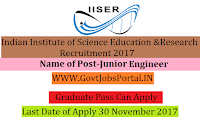 Indian Institute of Science Education and Research Recruitment 2017– Junior Engineer