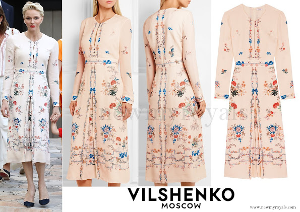 Princess Charlene wore a Jerry floral-print silk crepe de chine dress by Vilshenko. The VILSHENKO Jery floral print dress
