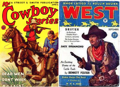Cowboy Stories, April 1934 and West, September 1934 - covers featuring W.H.B. Kent's stories