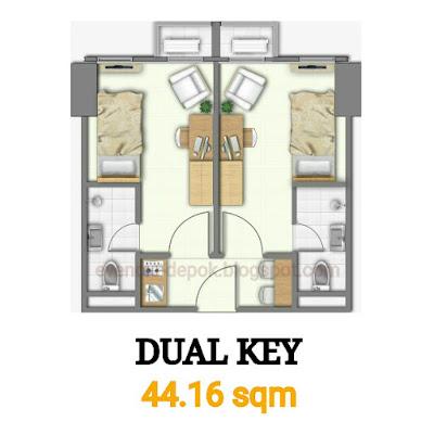 Tipe dual key evencio, Tipe 2 key evencio, Tipe dua key apartemen