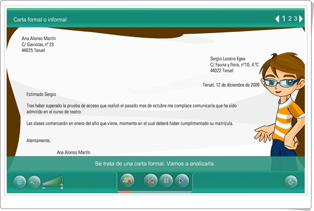 """""""Carta formal o informal"""" (Actividad interactiva de Lengua Española de Primaria)"""