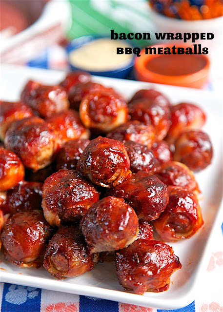 Bacon Wrapped BBQ Meatballs - only 3 ingredients! SO easy!! I took these to a party and they were gone in a flash! Could serve these over rice for lunch or dinner.