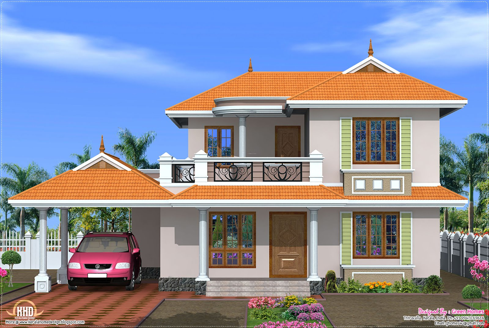 4 bedroom kerala model house design kerala home design for Four bedroom kerala house plans