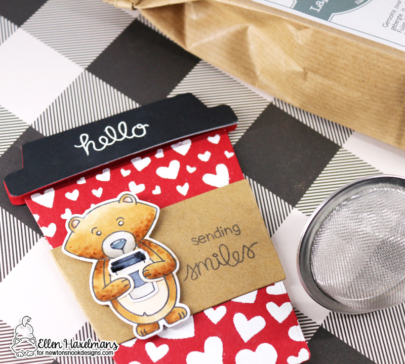 Coffee Gift set and card by Ellen Haxelmans | Sending Hugs Stamp Set and Tumbling Hearts Stencil by Newton's Nook Designs #newtonsnook #handmade
