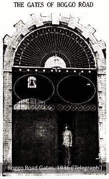 The front gates of Brisbane's Boggo Road Gaol, 1936.