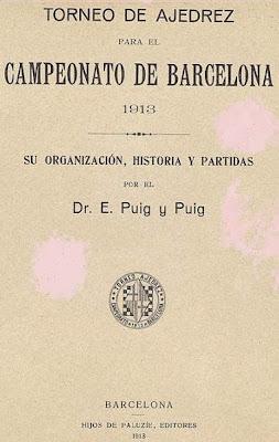 Portada del libro del Torneo de Ajedrez para el Campeonato de Barcelona de 1913
