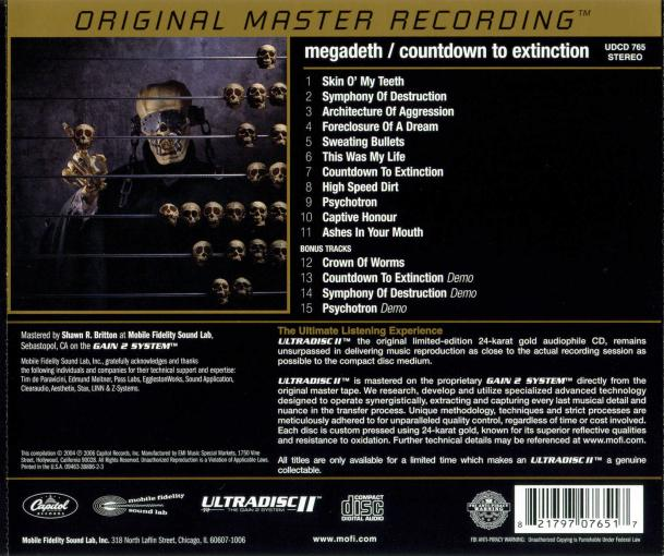 MEGADETH - Countdown To Extinction +4 [Ltd Edition MFSL Gold CD remastered] back
