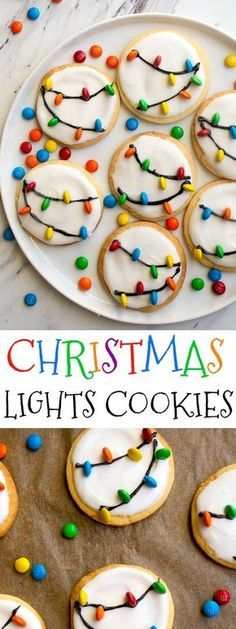 Christmas Lights Cookies for Santa! Easy royal icing recipe and mini M&Ms look like Christmas lights on cookies! Easy Christmas cookies to decorate with kids.