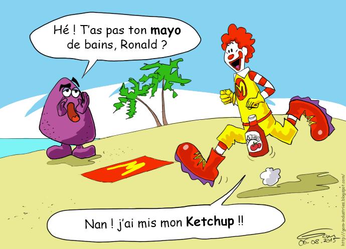 Ronald McDonalds ketchup et mayo maillot de bains
