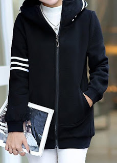 Black Zipper Up Long Sleeve Striped Coat