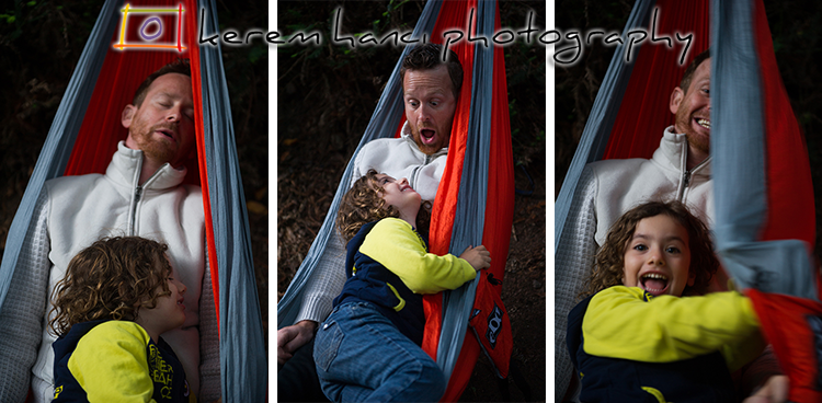 Vivienne gets silly with Shai on the Hammock