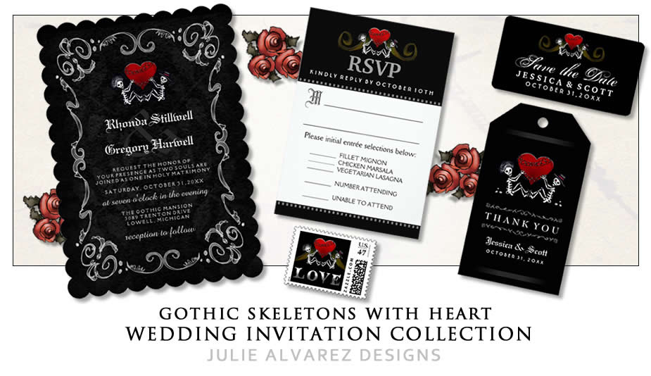 Red And Black Wedding Invitations Templates: Halloween Wedding Invitations