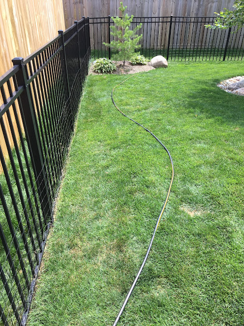planning bed edge with hose