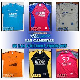 Camisetas de las 6 últimas ediciones