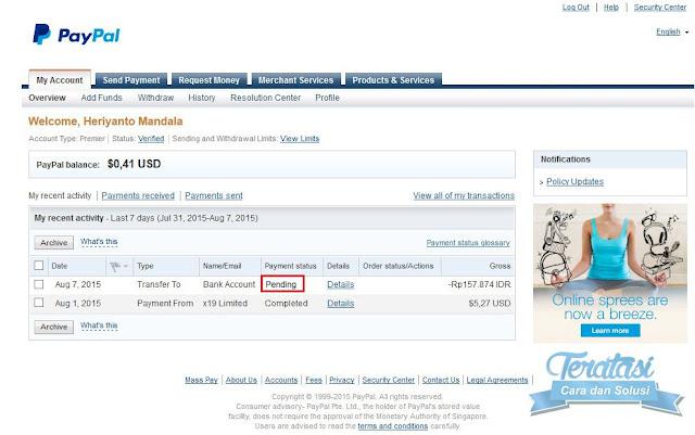 status paypment setelah melakukan withdraw saldo paypal ke rekening bank lokal indonesia