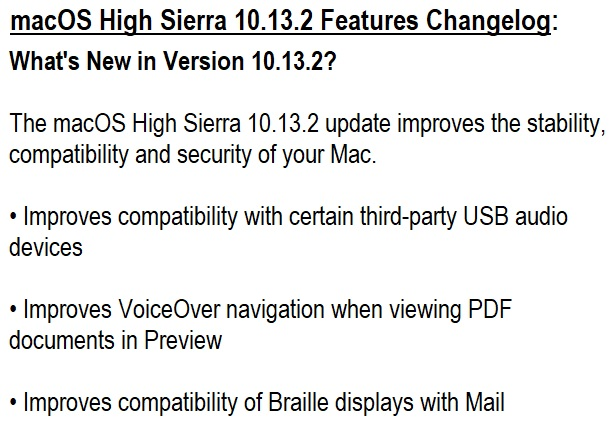 macOS High Sierra 10.13.2 Features Changelog