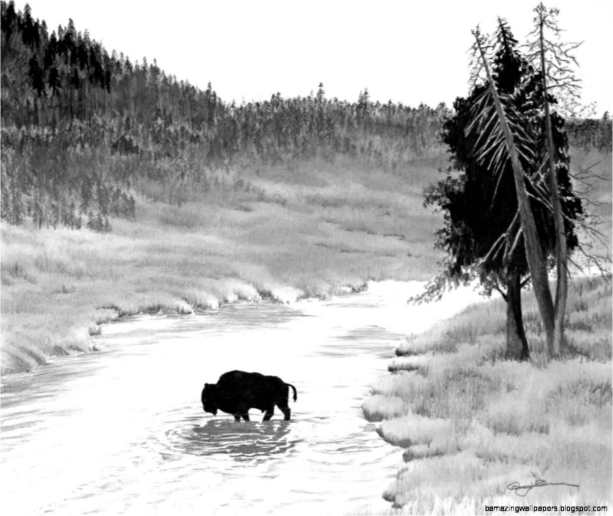 River pencil drawing amazing wallpapers