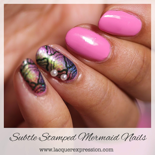 Stamped Mermaid Summer Nail Design using pink and holo nail polish
