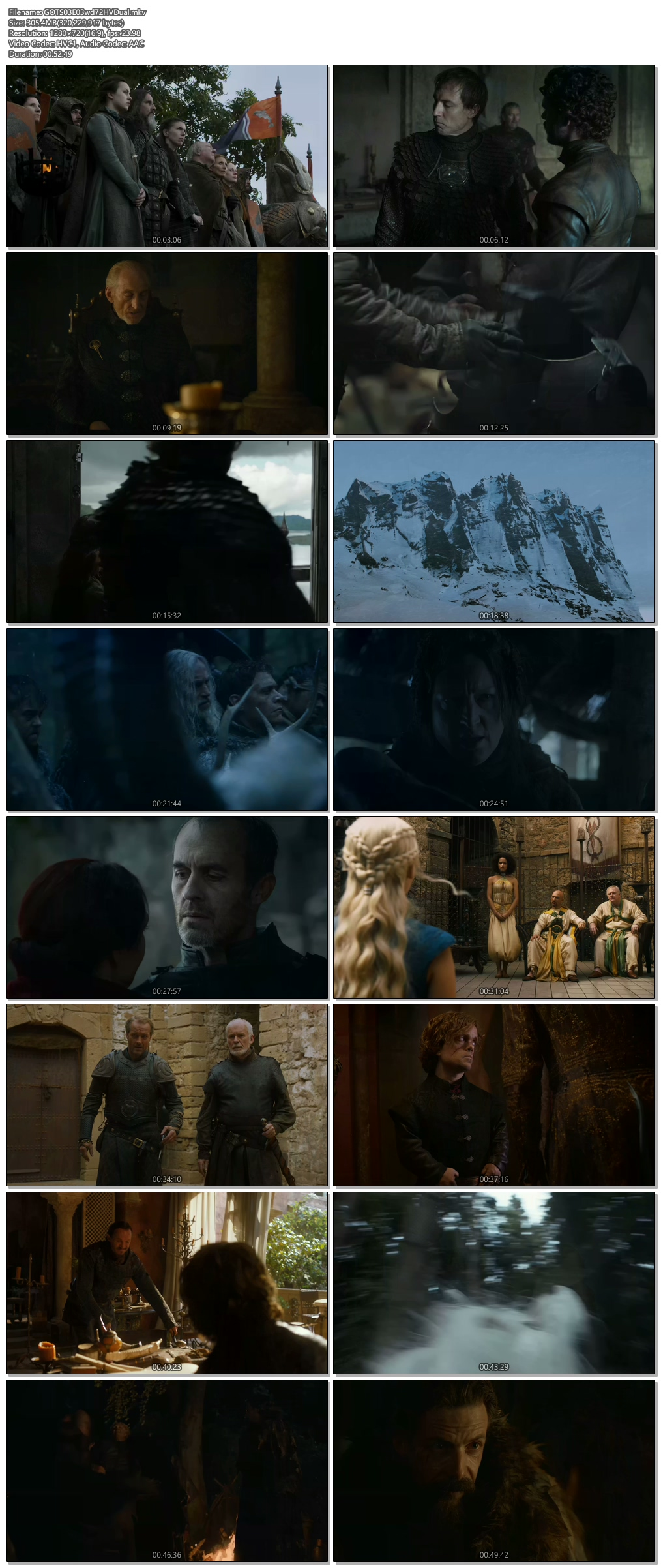Screenshots Of Hindi Dubbed Show Game of Thrones 2013 Season 03 Episode 03 300MB 720P HD
