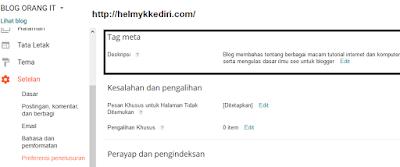 Mengatasi tidak ada deskripsi blog diPenelusuran3
