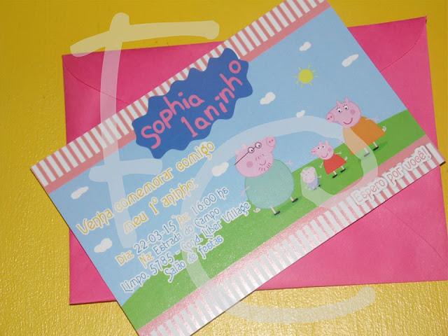 Convite Padrão 10X15 cm - Tema Peppa Pig