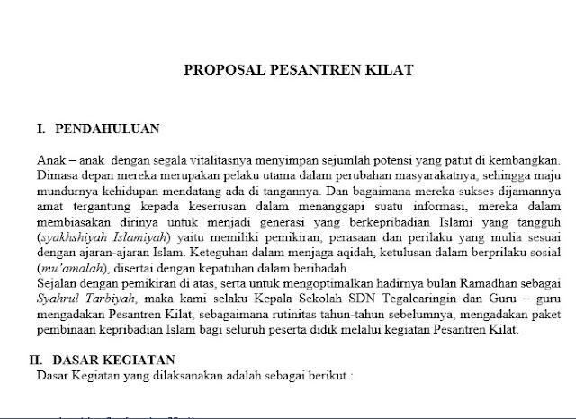 Contoh Proposal Pesantren Kilat Sanlat Untuk Sekolah