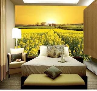blommig tapet blomsteräng gul fototapet landskap sovrumstapet