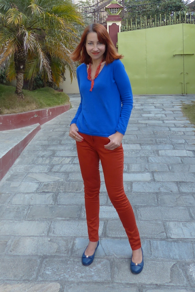 Orange skinnies and cobalt blue jumper